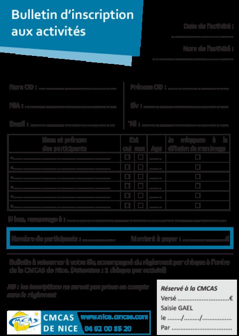 Bulletin d'inscription aux activités (Format double A5)